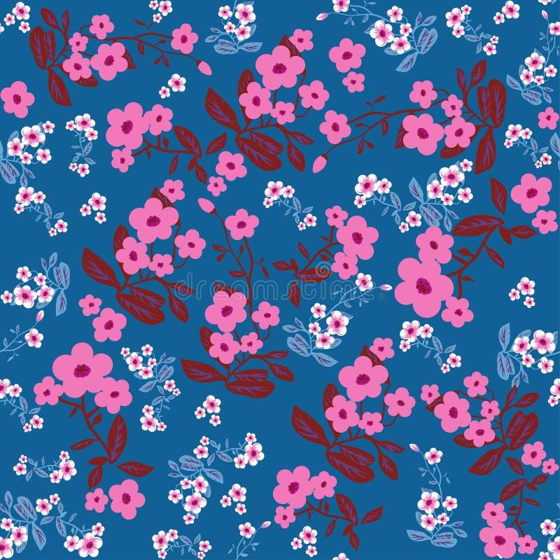 Cópia azul das flores ilustração stock