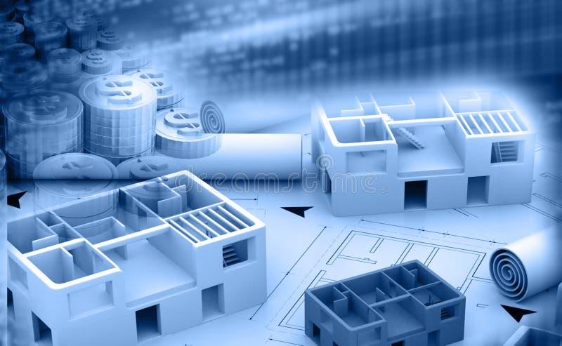 Cópia azul de um projeto arquitetónico ilustração stock