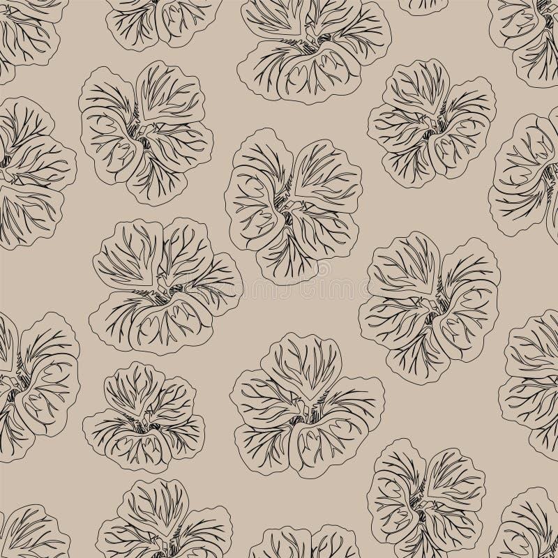 Cópia bege clara da flor do hibiscus Chagas lindo Teste padrão floral do vintage Fundo sem emenda Textura da forma A lápis desenh ilustração stock