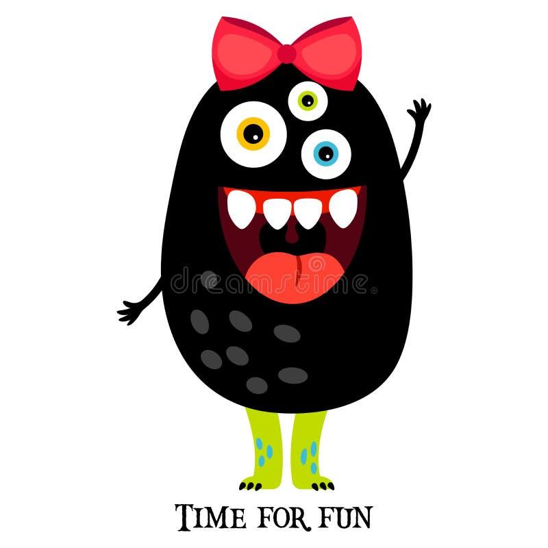 Cópia bonito com o monstro engraçado da menina ilustração do vetor