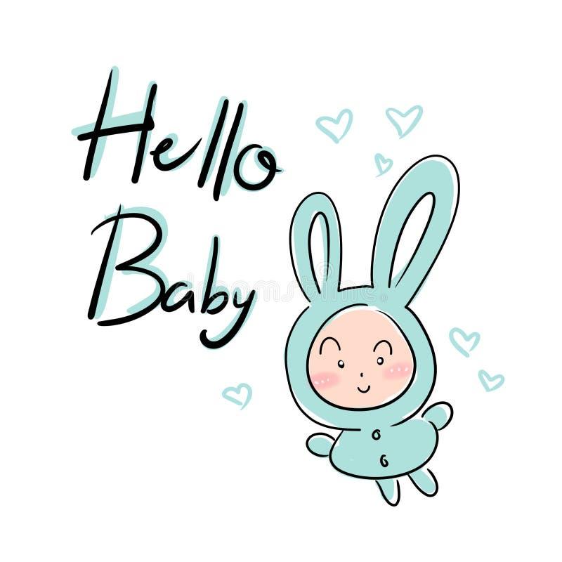 Cópia bonito com rotulação, olá! bebê, elemento da festa do bebê ilustração do vetor