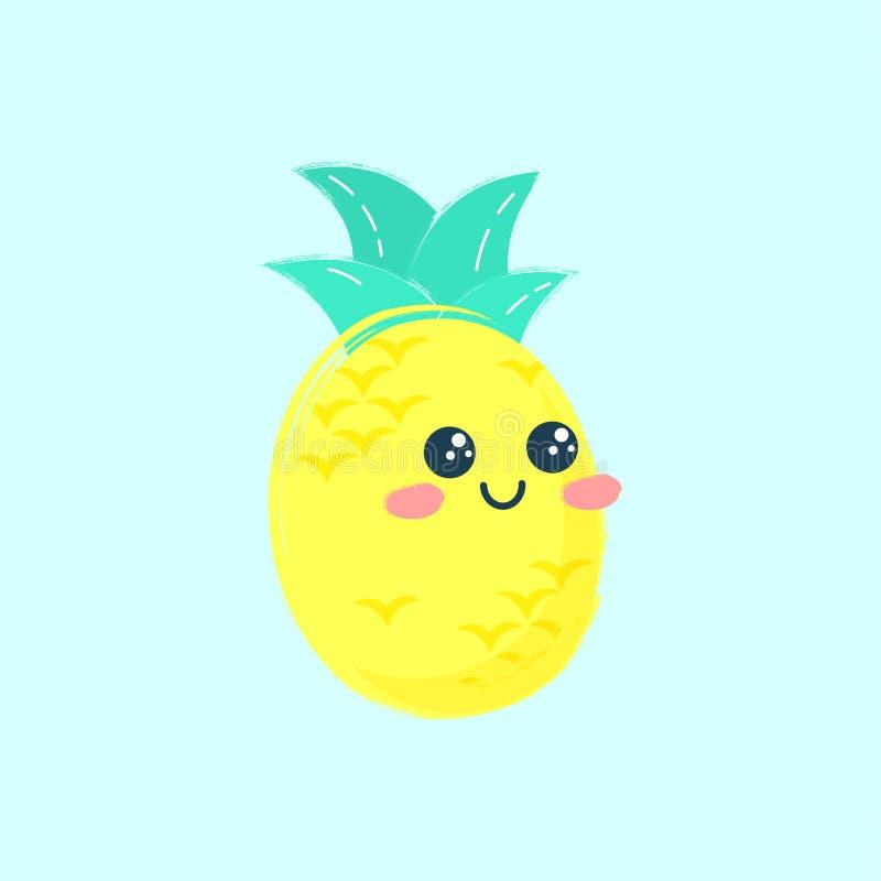 Cópia bonito do abacaxi Cartão da cópia do verão do vetor ou ilustração na moda do t-shirt ilustração stock