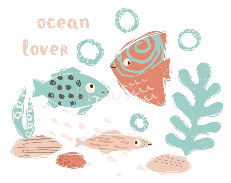 Cópia bonito do bebê dos peixes Animal de mar doce Amante do oceano - slogan do texto ilustração stock
