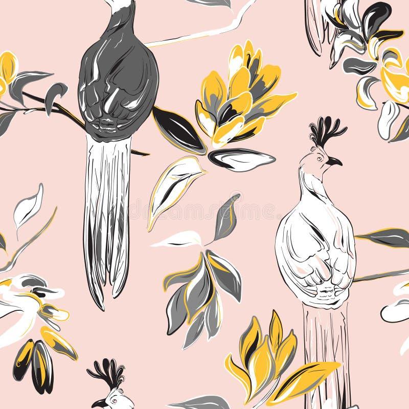 Cópia botânica com pássaros e bloosom grandes da flor C?pia da tela do vetor Ilustra??o bonito da natureza Projeto gráfico dos an ilustração do vetor