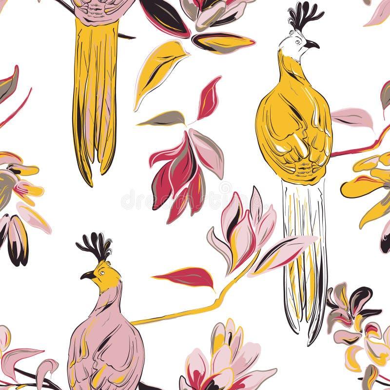 Cópia botânica com pássaros e bloosom grandes da flor C?pia da tela do vetor Ilustra??o bonito da natureza Projeto gráfico dos an ilustração stock