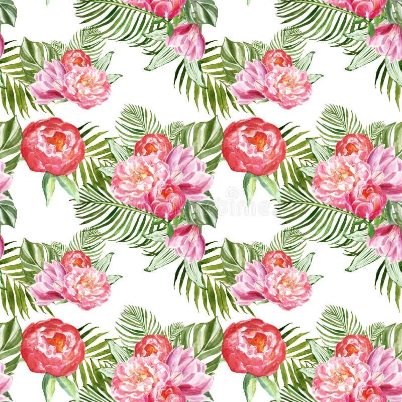 Cópia botânica do verão com as folhas e as flores tropicais verdes no fundo branco Teste padrão sem emenda das plantas exóticas h ilustração royalty free