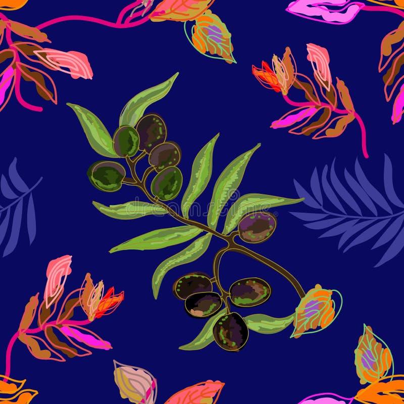 Cópia botânica esboçado com ramo de oliveira ilustração do vetor