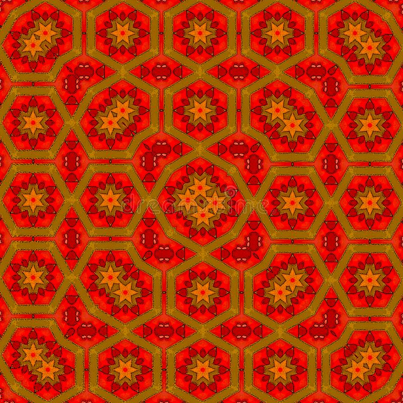 Cópia brilhante vermelha e amarela para o tapete ou o tapete fotografia de stock