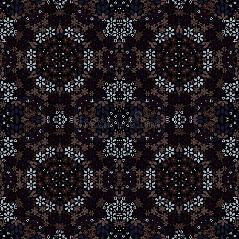 Cópia calidoscópico das flores do mosaico do teste padrão floral sem emenda ilustração royalty free