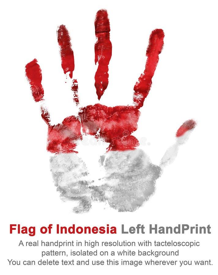Cópia colorida da mão esquerda da bandeira nacional de Indonésia foto de stock
