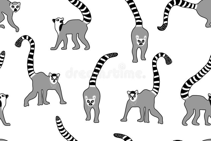 Cópia com lêmures, leopardos e tigres ilustração do vetor