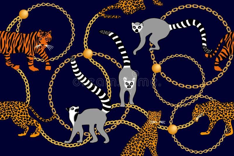 Cópia com lêmures, leopardos e tigres ilustração stock