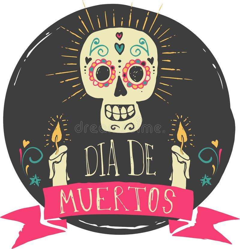 Cópia - crânio mexicano, dia dos mortos ilustração royalty free