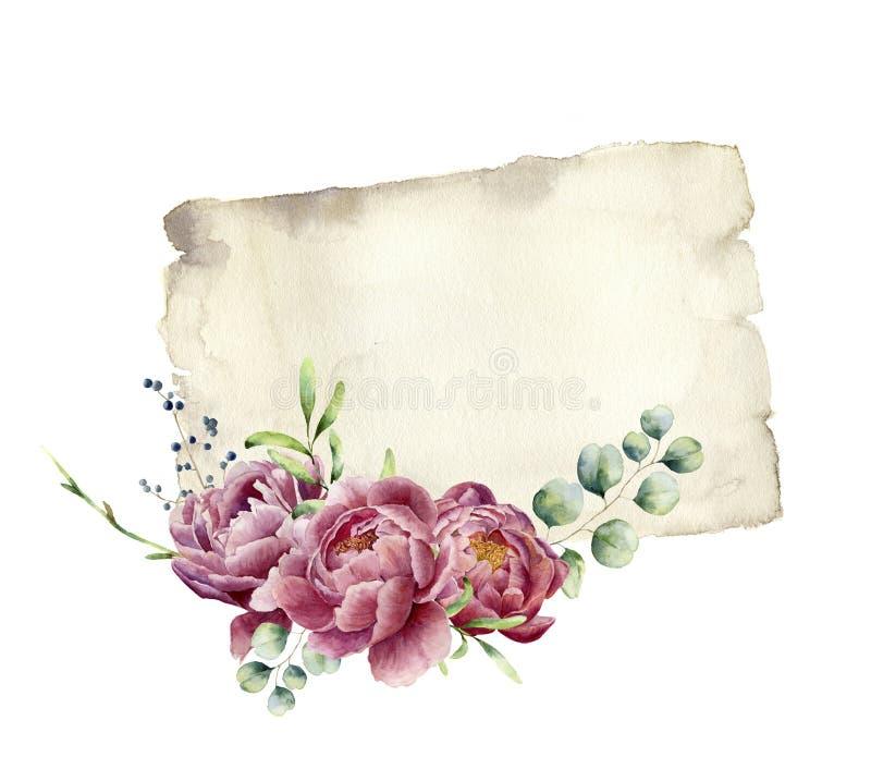 Cópia da aquarela com peônia, hortaliças, eucalipto e papel velho Textura de papel velha pintado à mão com design floral ilustração stock