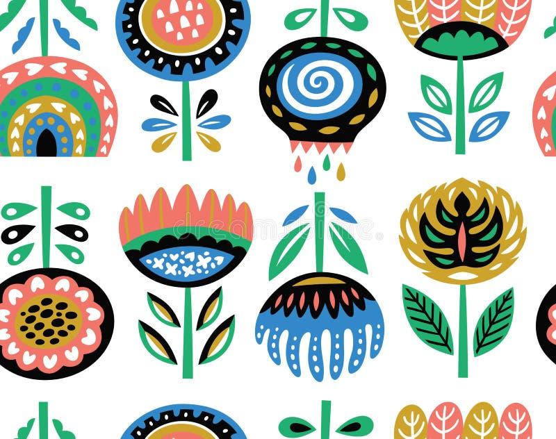 Cópia da arte da flor no estilo escandinavo Vector o teste padrão sem emenda ilustração royalty free