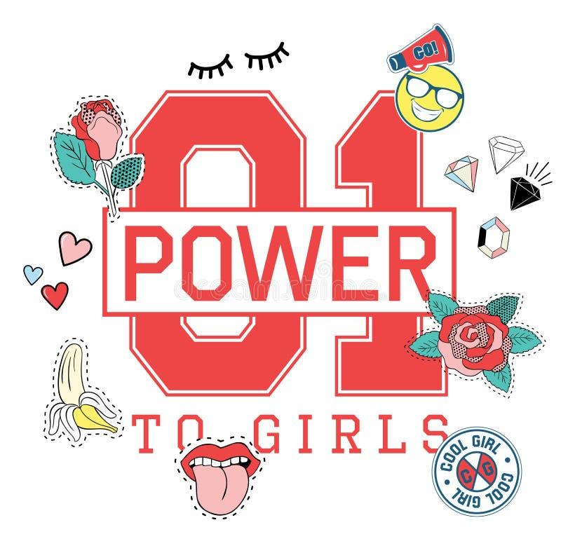 Cópia da camisa do esporte t da forma para meninas com poder da rotulação 01 às meninas com bordado, remendos ilustração do vetor