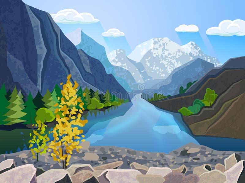 Cópia da escala de montanhas do verão da paisagem ilustração stock