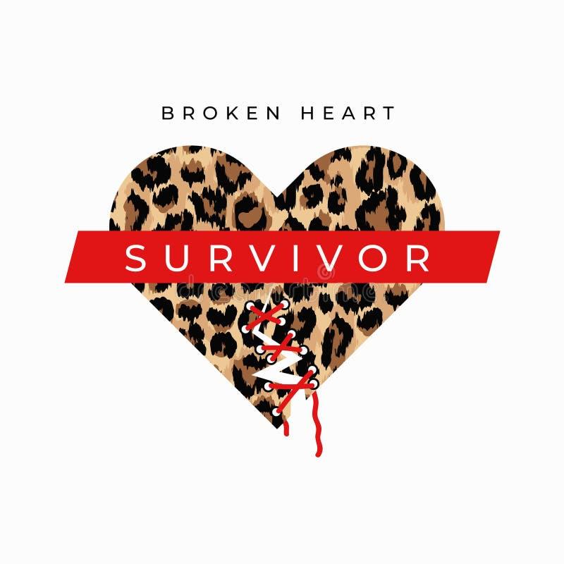 Cópia da forma do sobrevivente do coração quebrado com costurado acima da cópia do coração quebrado e do leopardo Cartão inspirad ilustração royalty free