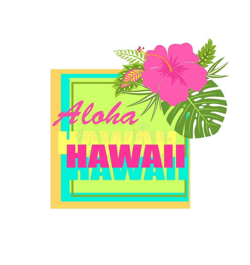 Cópia da forma do t-shirt com rotulação de néon de Aloha Hawaii, flor do hibiscus e as folhas tropicais ilustração royalty free
