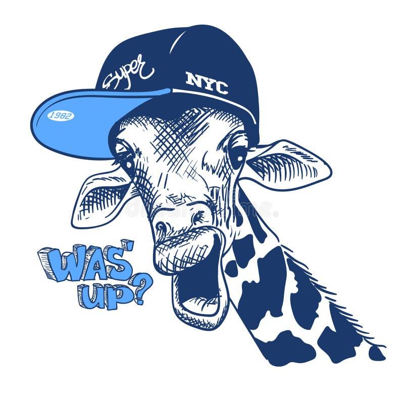 Cópia da ilustração do vetor com as imagens e o texto do girafa, apropriados para imprimir em um t-shirt ou em uma camiseta, esbo ilustração royalty free