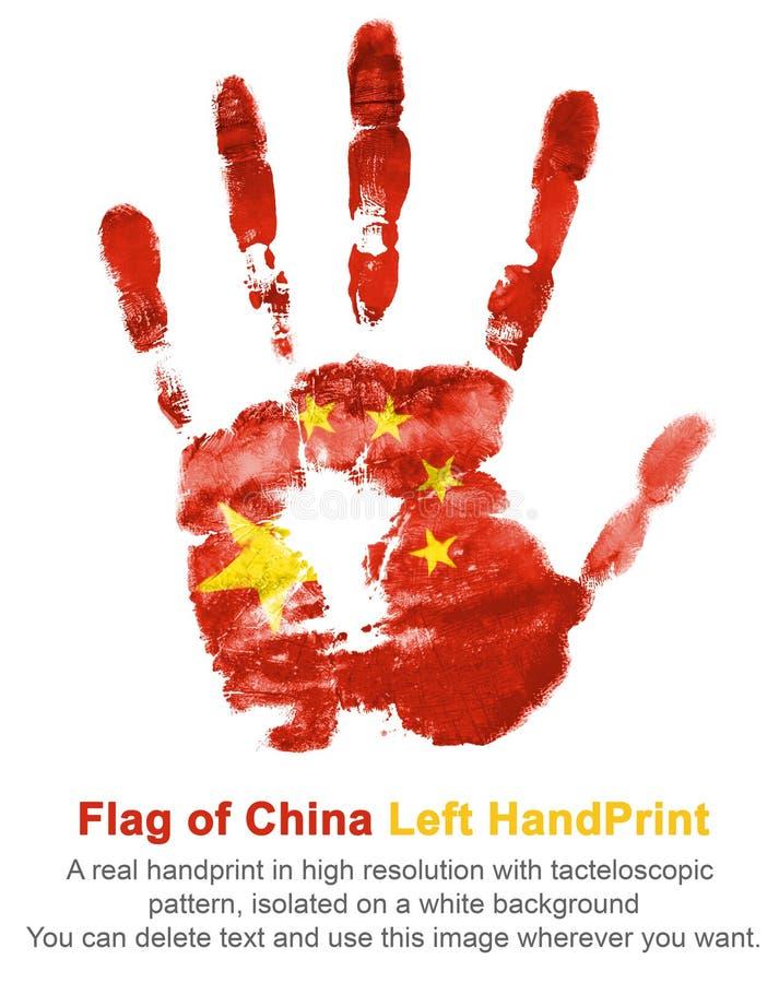 Cópia da mão esquerda na cor da bandeira de China A impressão de cores nacionais no fundo branco imagem de stock royalty free