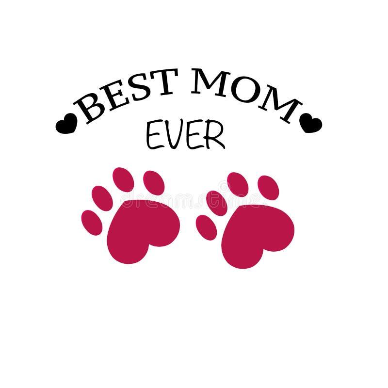 Cópia da pata com corações `` Cartão do texto da melhor mamã do dia feliz do ` s da mãe nunca `` ilustração royalty free