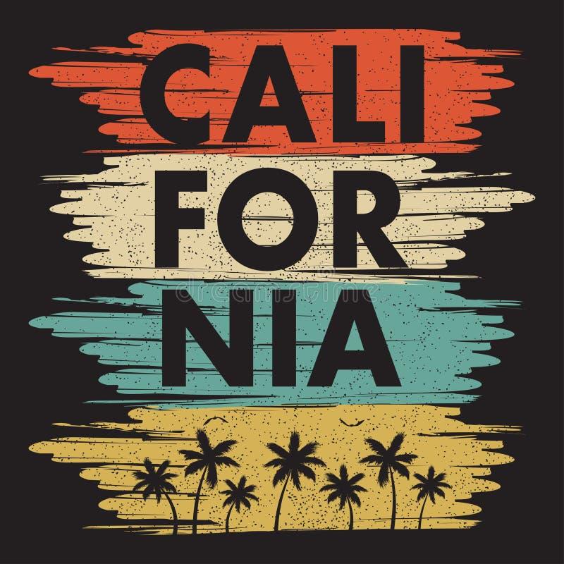 Cópia da tipografia de Califórnia para o t-shirt do projeto com palmeiras e gaivota Projeto gráfico para o fato, roupa Vetor ilustração stock