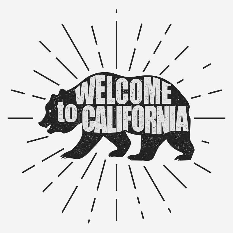 Cópia da tipografia de Califórnia, t-shirt do urso pardo Vetor ilustração stock