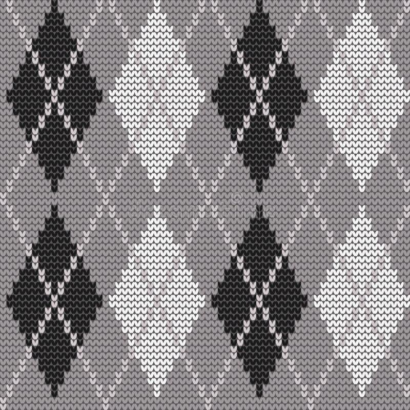 Cópia de Argyle em cores cinzentas, preto e branco ilustração royalty free