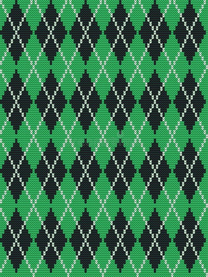 Cópia de Argyle em cores verdes, preto e branco ilustração stock