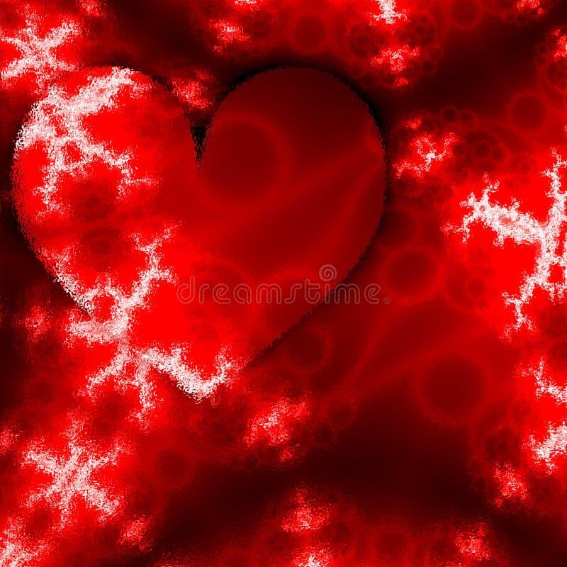 Cópia de cartão do dia de são valentim com efeito da geada Cartão do esboço com corações Teste padrão abstrato do vermelho do inv ilustração royalty free
