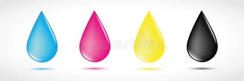 Cópia de quatro cores preliminares das gotas de CMYK ilustração stock