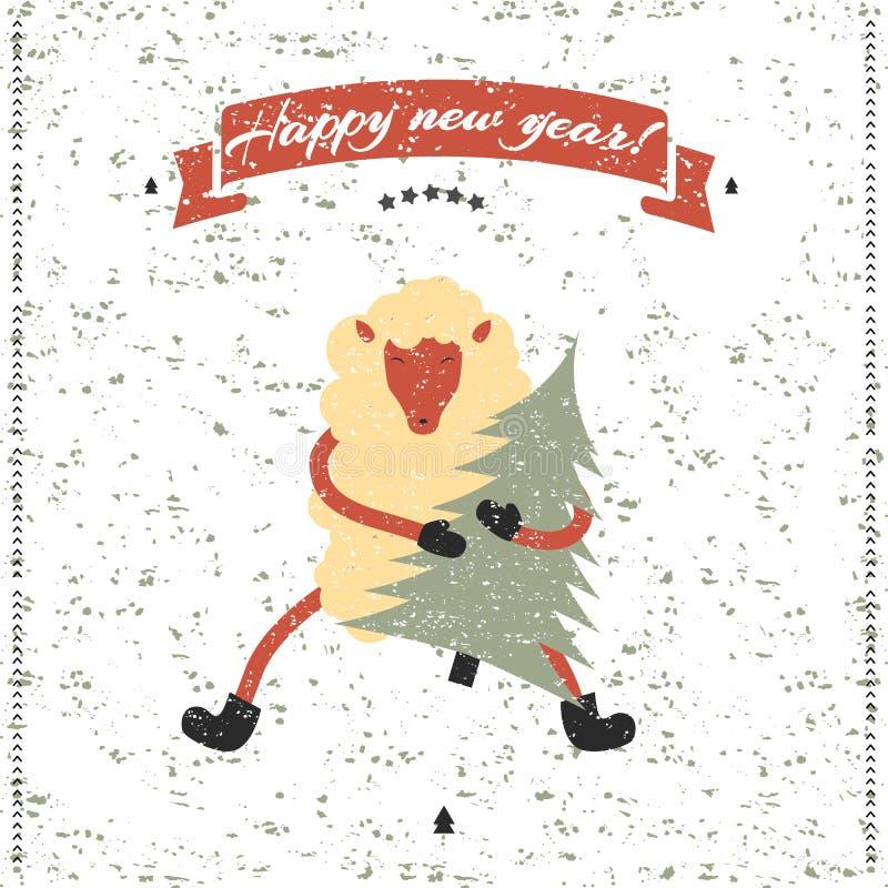 Cópia do ano novo e do Natal Carneiros engraçados ilustração do vetor