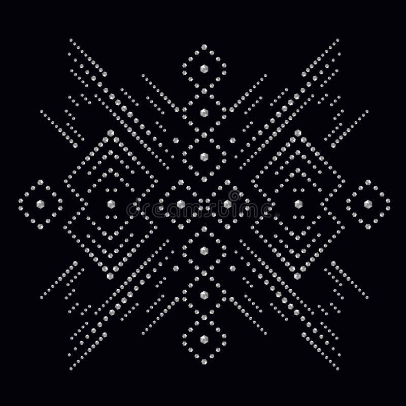 A cópia do applique do cristal de rocha para a matéria têxtil veste-se no luxo da forma ilustração royalty free