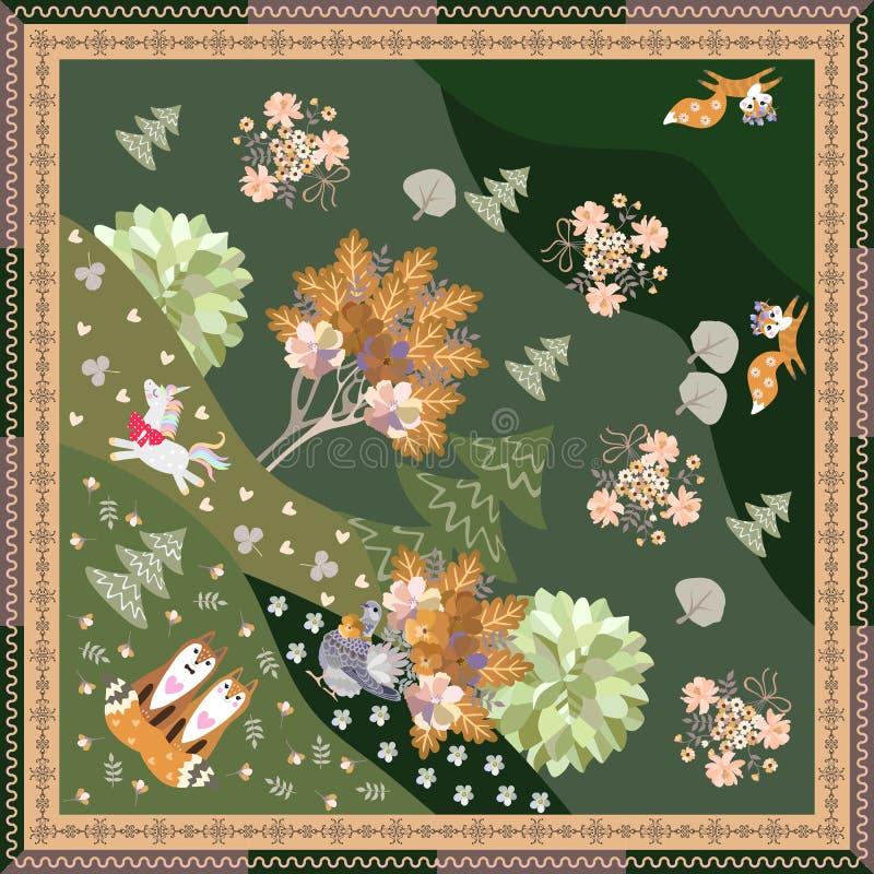 Cópia do Bandana com unicórnio bonito dos desenhos animados, as raposas engraçadas e a pomba mágica na beira decorativa da fl ilustração do vetor