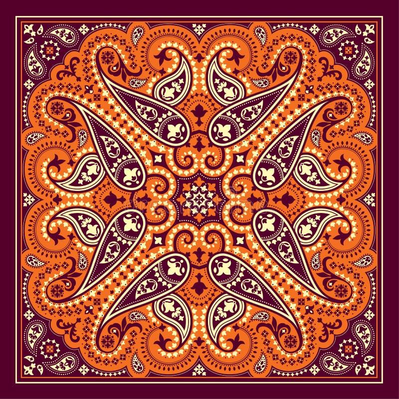 Cópia do bandana do vetor com ornamento de paisley Lenço do algodão ou da seda, projeto quadrado do teste padrão do lenço, estilo ilustração royalty free
