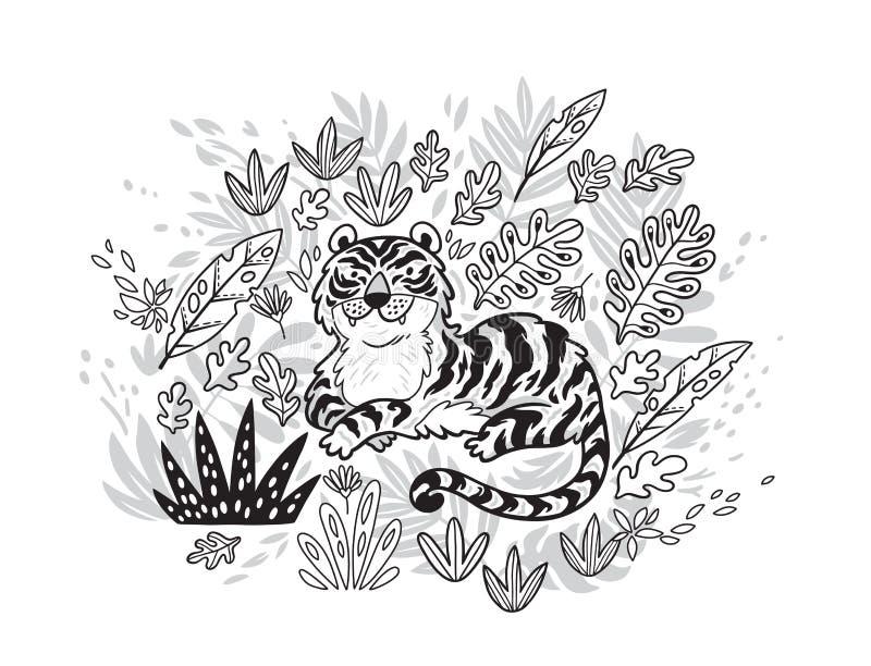 Cópia do contorno Tigre nas folhas tropicais Ilustração preto e branco do vetor ilustração stock