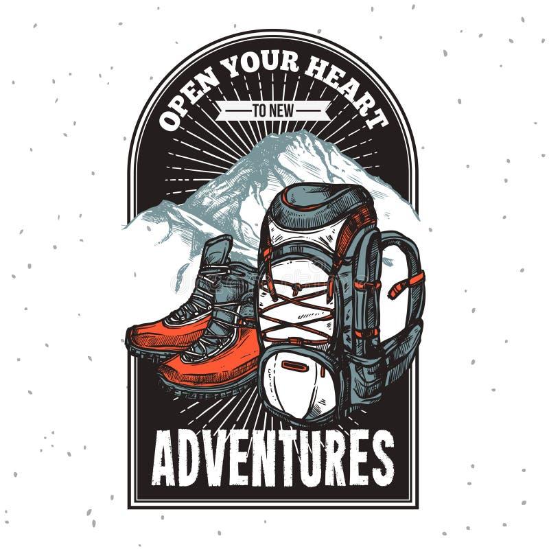 Cópia do emblema da rotulação da aventura ilustração stock