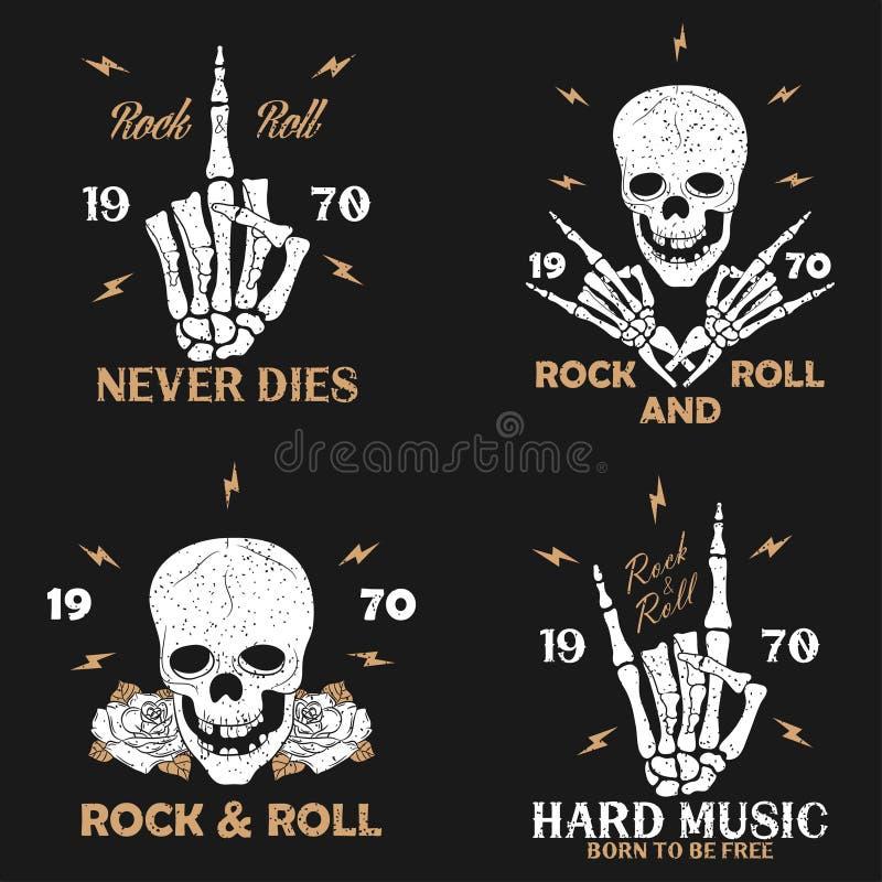 A cópia do grunge da música rock para o fato com mão de esqueleto, crânio e aumentou Gráficos do t-shirt do rocha-n-rolo do vinta ilustração stock