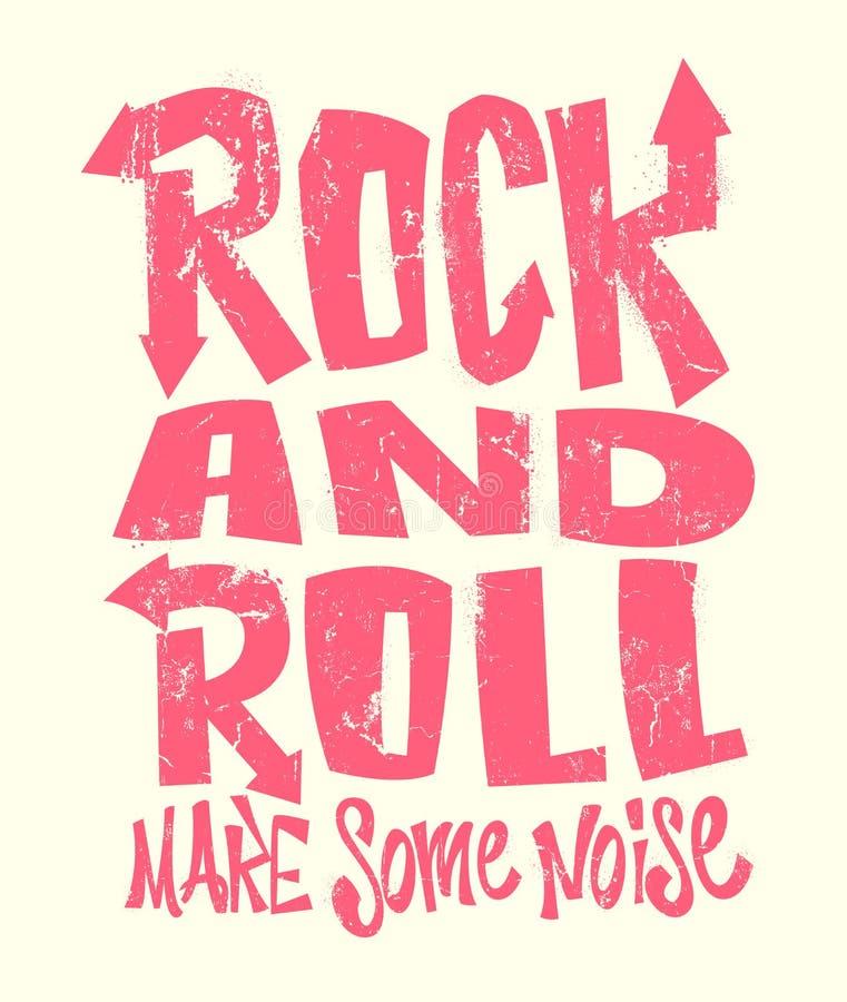 Cópia do grunge do rock and roll, projeto gráfico de vetor rotulação da cópia do t-shirt ilustração stock