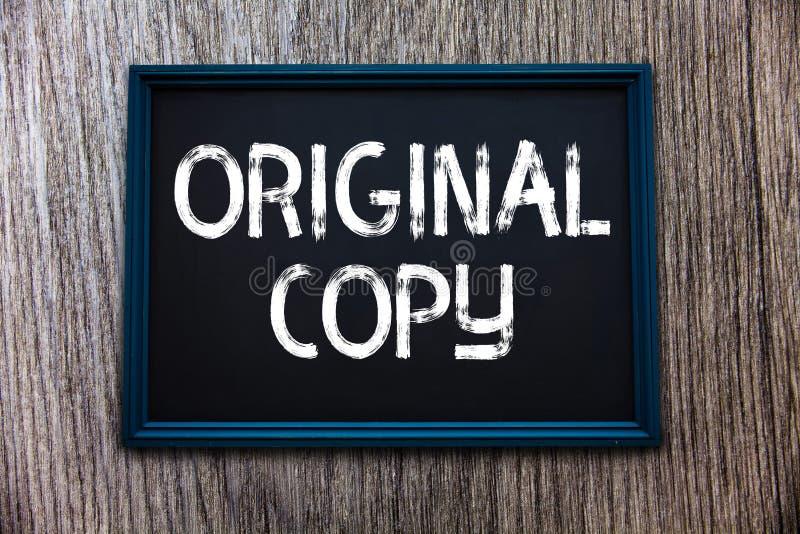 Cópia do original do texto da escrita Conceito que significa lista principal patenteada marcada Unprinted do roteiro principal imagem de stock