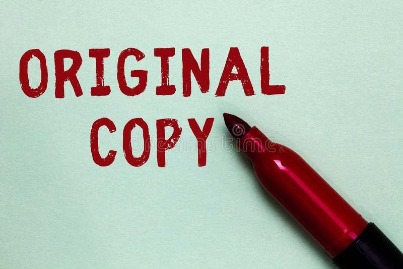 Cópia do original do texto da escrita Conceito que significa lista principal patenteada marcada Unprinted do roteiro principal co fotografia de stock