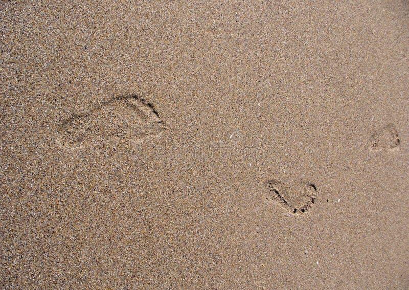 Cópia do pé na areia fotografia de stock