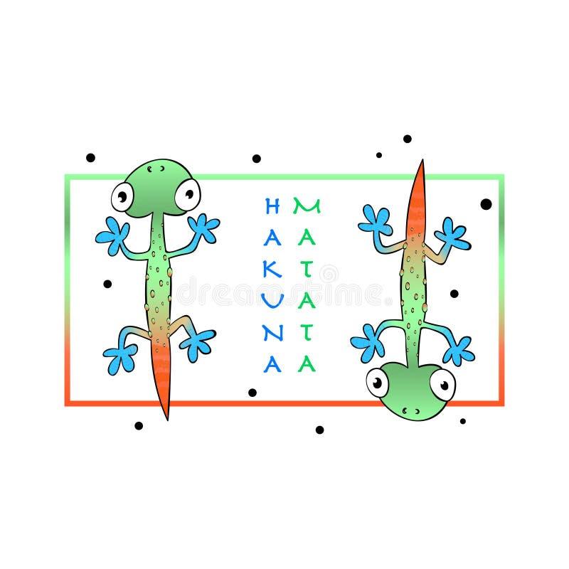 Cópia do slogan da tipografia com o lagarto bonito da cor ilustração royalty free