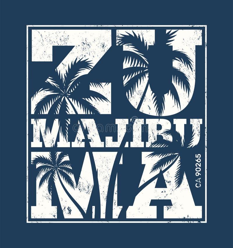 Cópia do T de Malibu com palmeiras Projeto do t-shirt, gráficos, stam ilustração stock