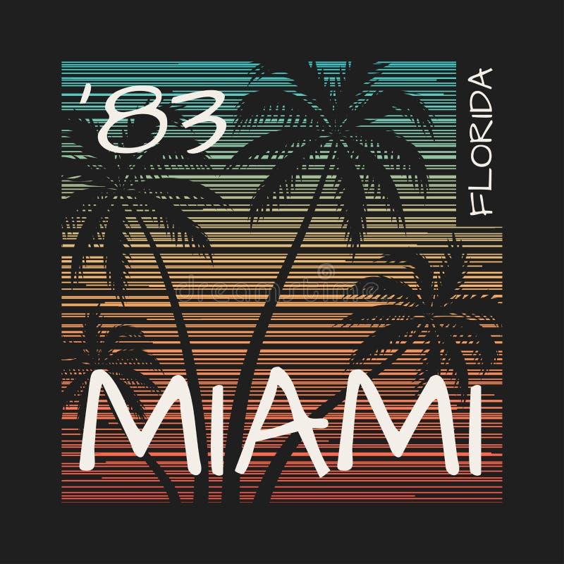Cópia do T de Miami Florida com palmeiras ilustração royalty free