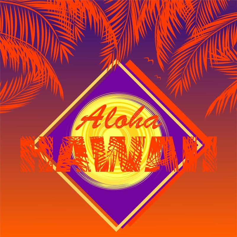 Cópia do t-shirt com rotulação de Aloha Hawaii, folhas de palmeira alaranjadas do coco, sol e etiqueta violeta no fundo escuro ilustração royalty free