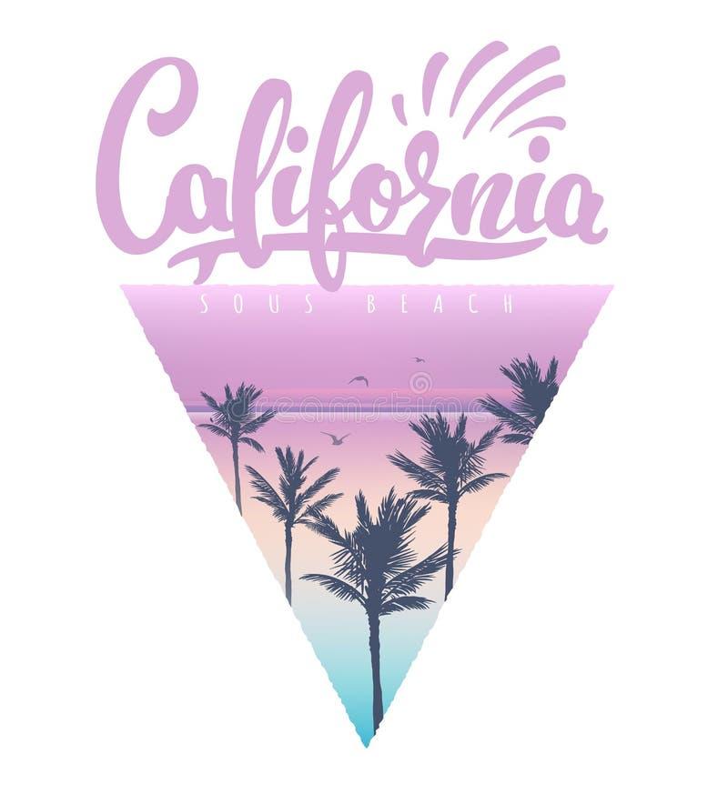 Cópia do t-shirt da praia de Califórnia ilustração do vetor