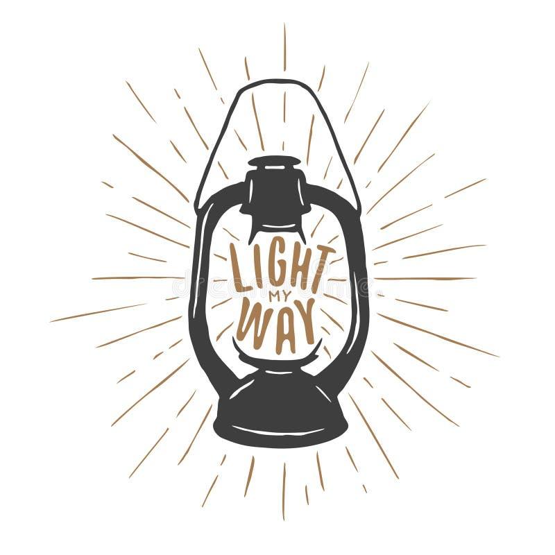 Cópia do t-shirt do vintage com lâmpada e citações de óleo Ilumine minha maneira Ilustração do vetor ilustração stock