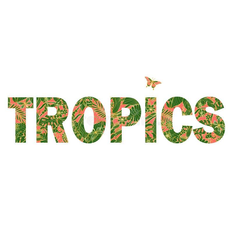 Cópia do t-shirt dos trópicos com flores e as plantas exóticas ilustração stock